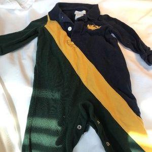 Ralph Lauren Green, Yellow, Navy Rugby Romper 9mo